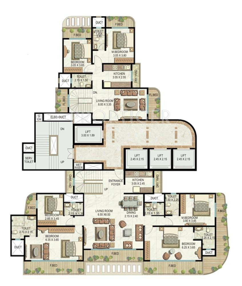 3804 sq ft 4 bhk 4t apartment for sale in shreepati group for Apartment cluster plans