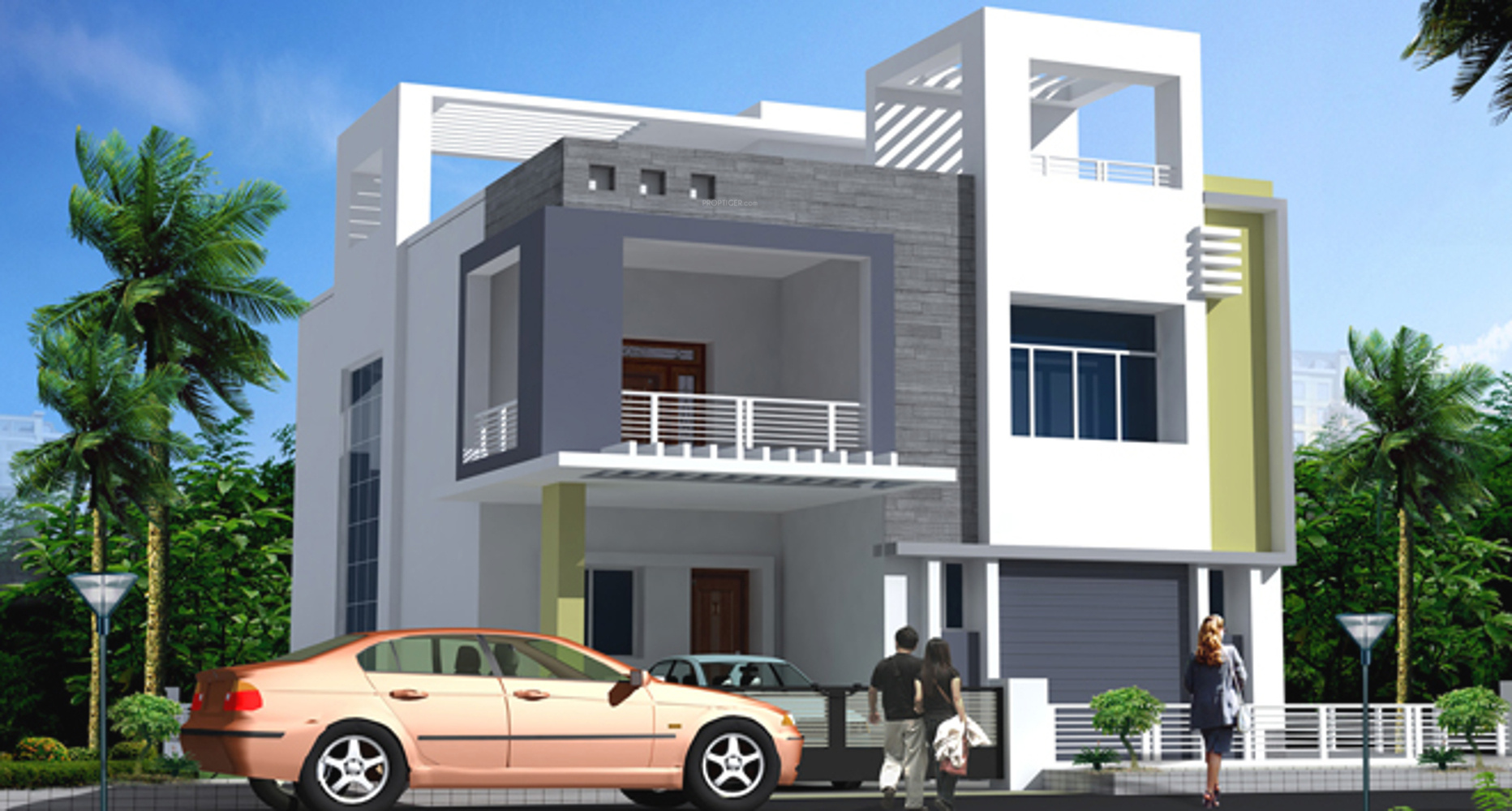 2 Floor Elevation Designs : Main elevation image of saket swarna villas unit
