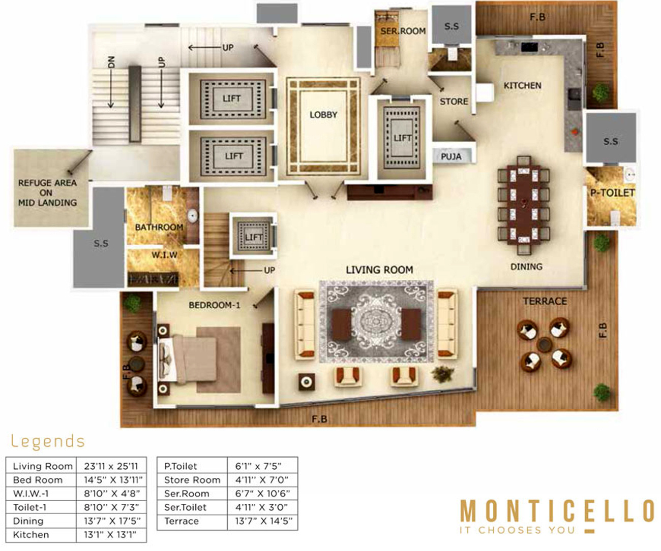 Samudra monticello in bandra west mumbai price for Monticello floor plan