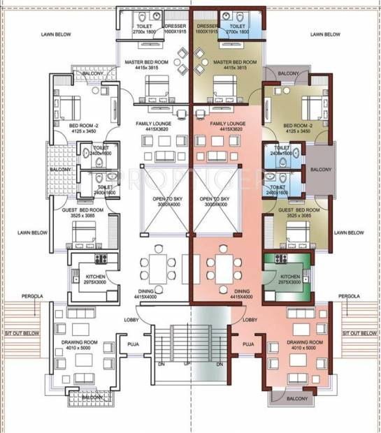 palm-floors Cluster Plan