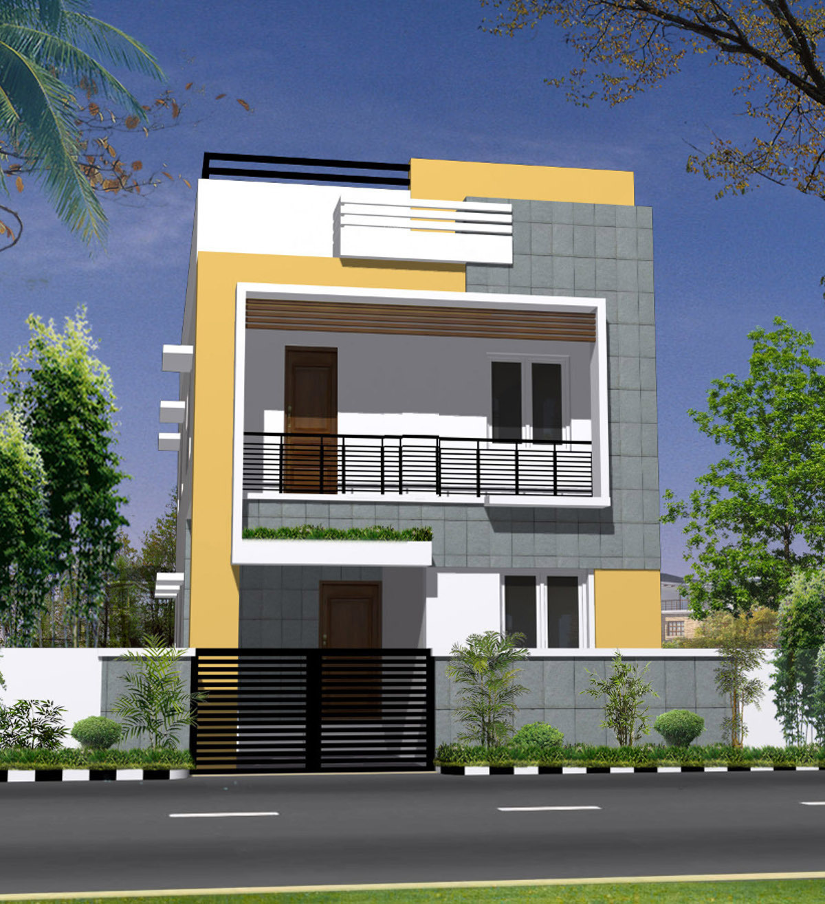 2 Storey Modern House Floor Plan Elevation Image