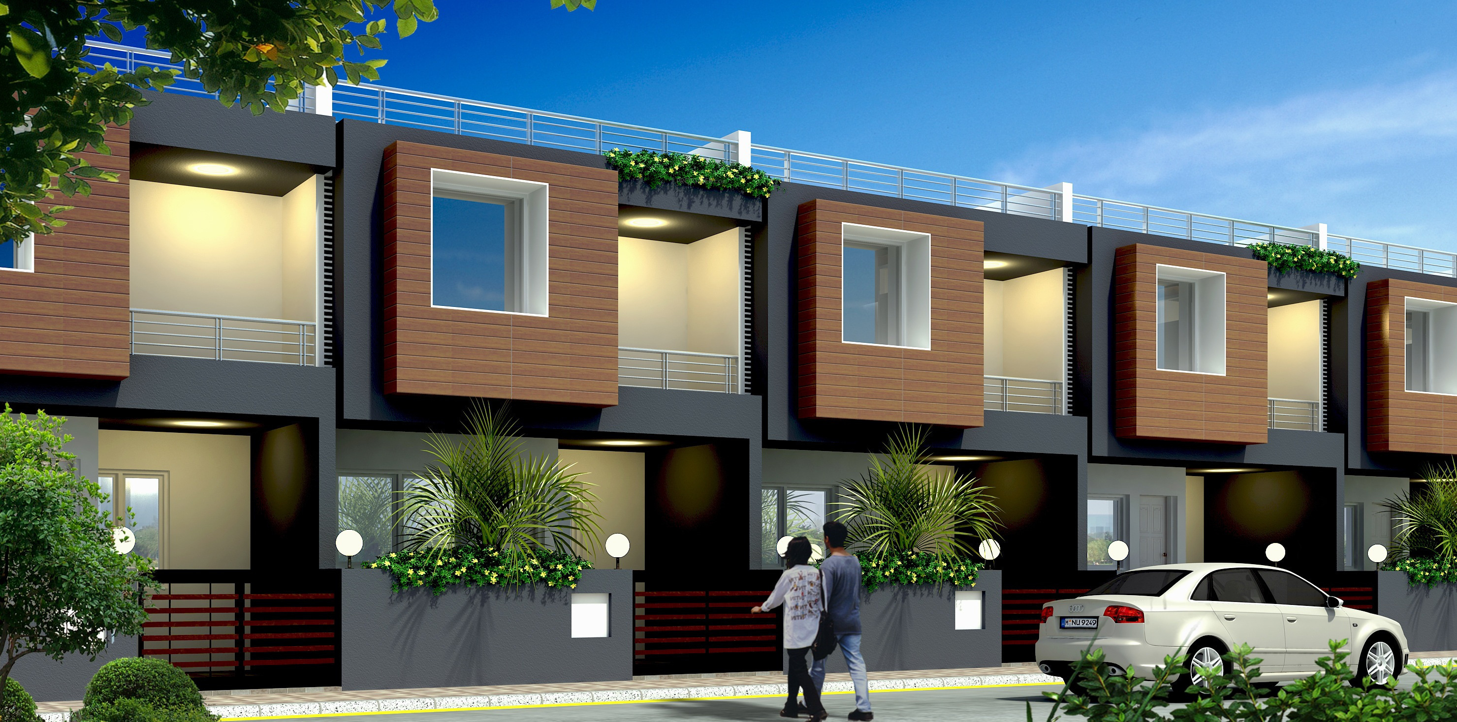 Front Elevation Of Row Houses : Main elevation image of surya group lucknow row