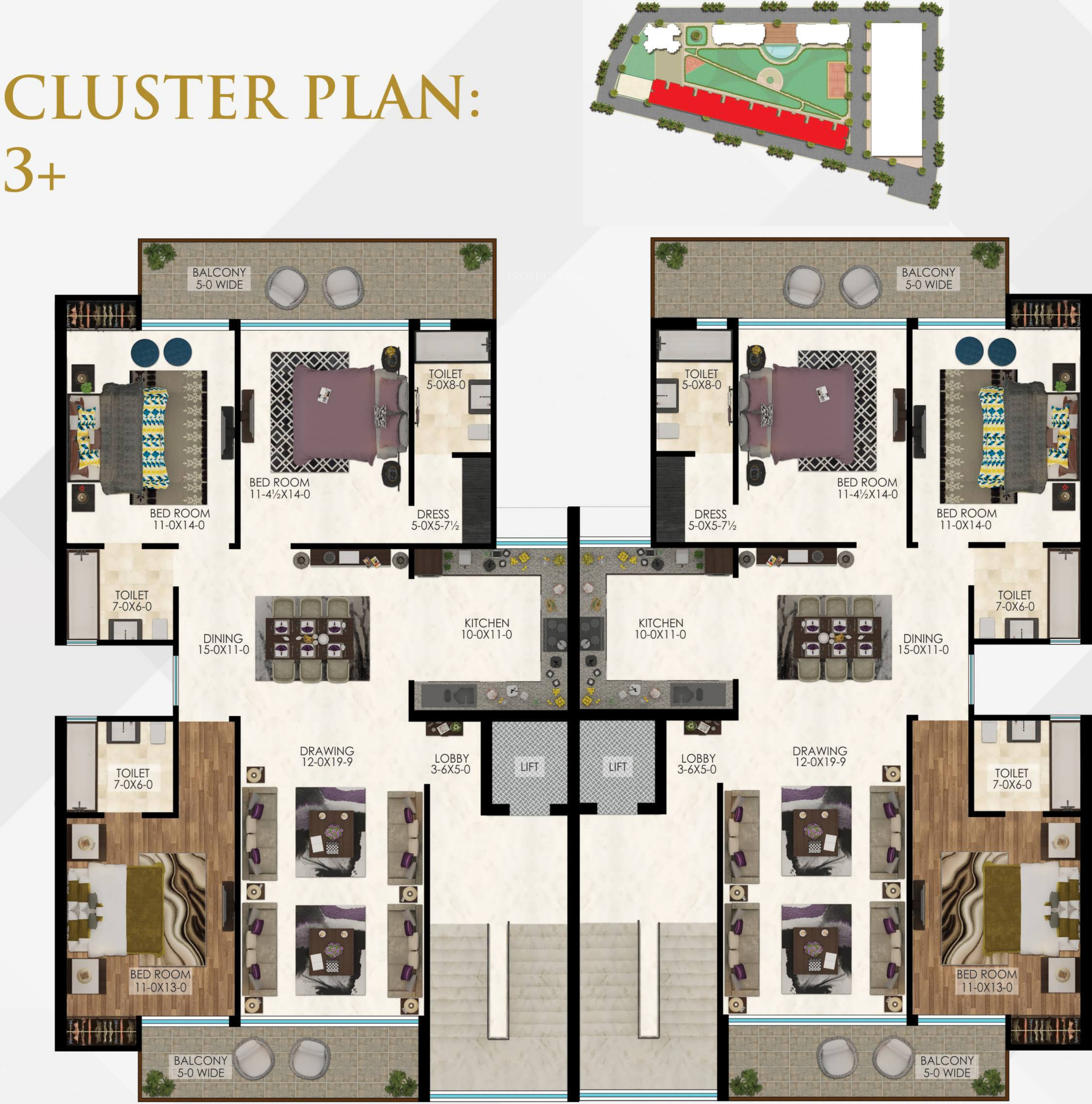 1050 sq ft 2 bhk 2t apartment for sale in the antriksh for Apartment cluster plans