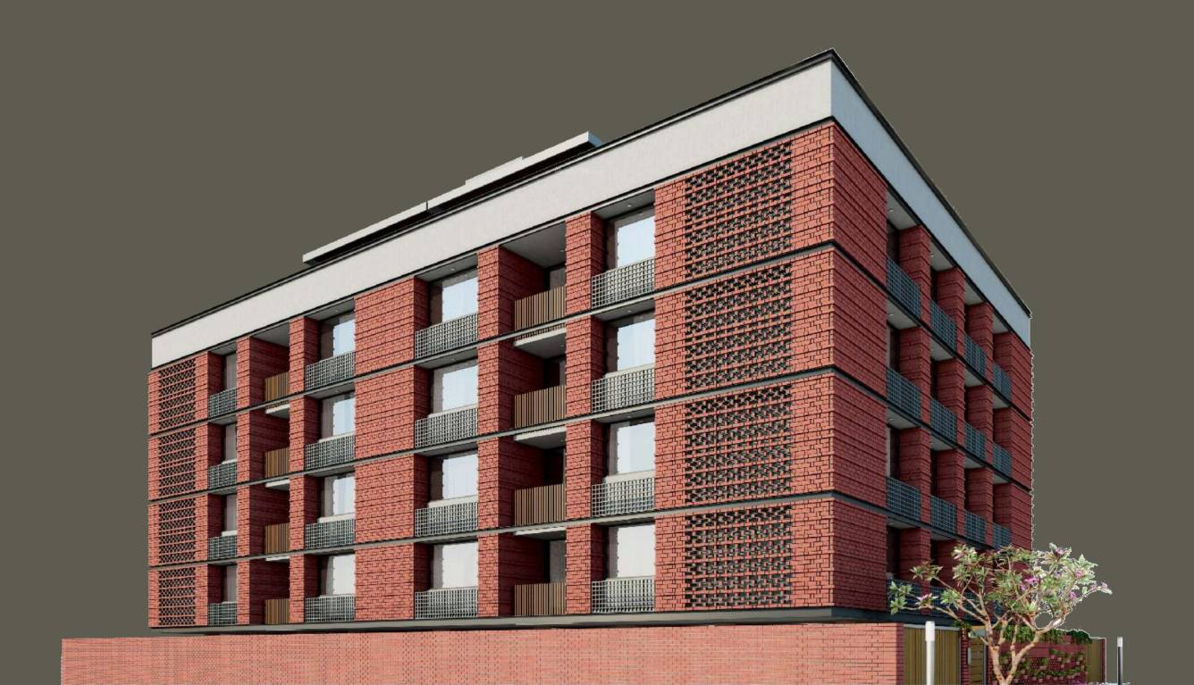 Olive brick home in gulbai tekra ahmedabad price for Brick elevation design