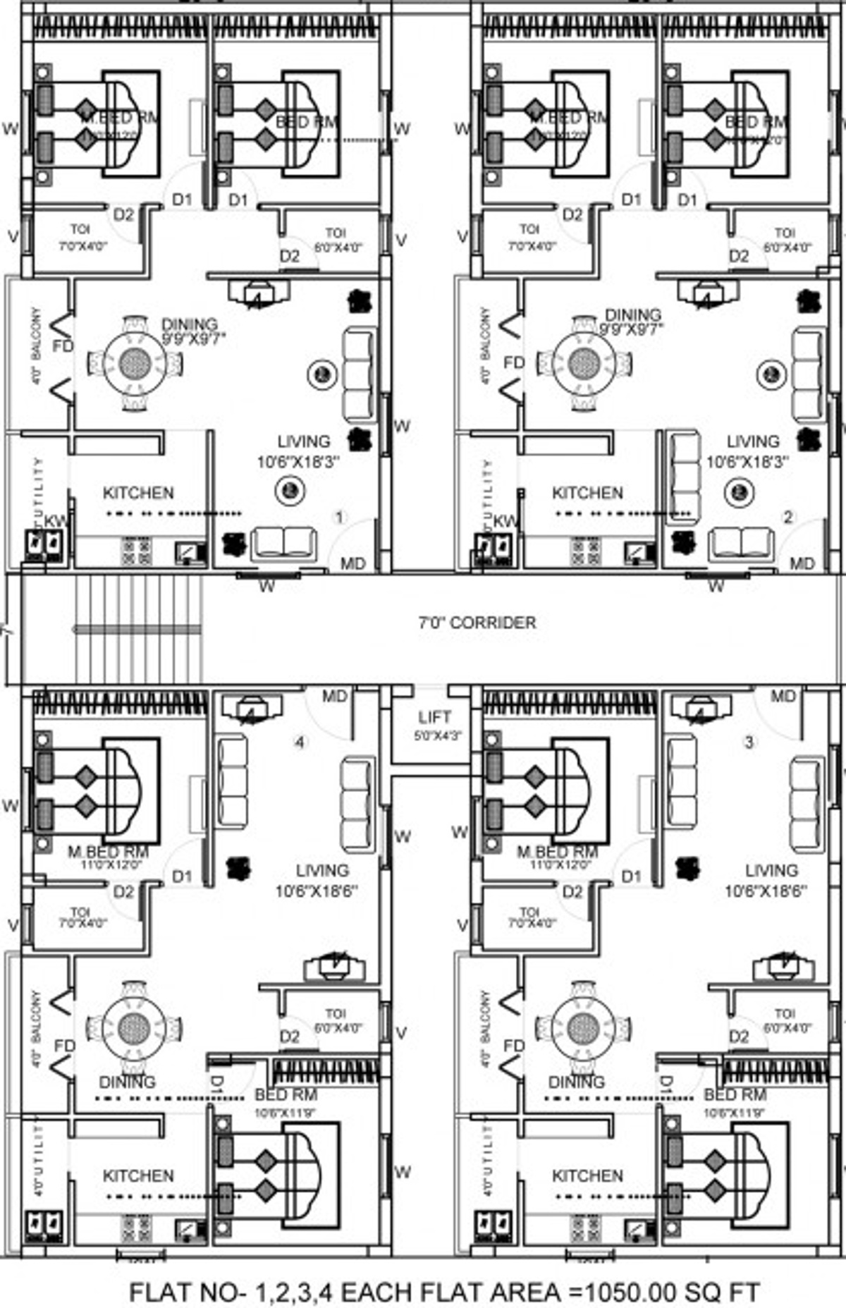 1050 Sq Ft 2 Bhk 2t Apartment For Sale In Avantika Sarayu