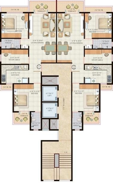 1292 sq ft 2 bhk 2t apartment for sale in hi tech ultra for Cluster home plans