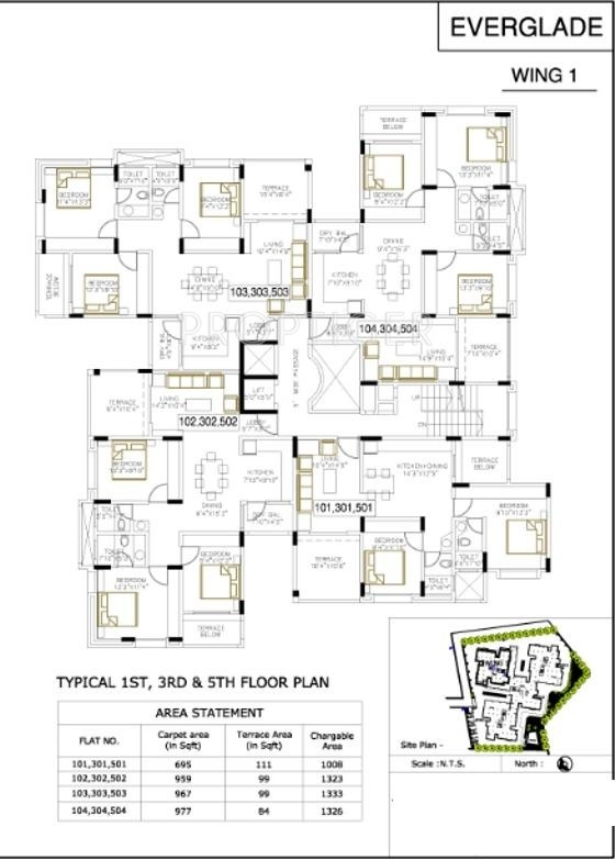 1476 sq ft 3 bhk 3t apartment for sale in bu bhandari for Apartment plans bu