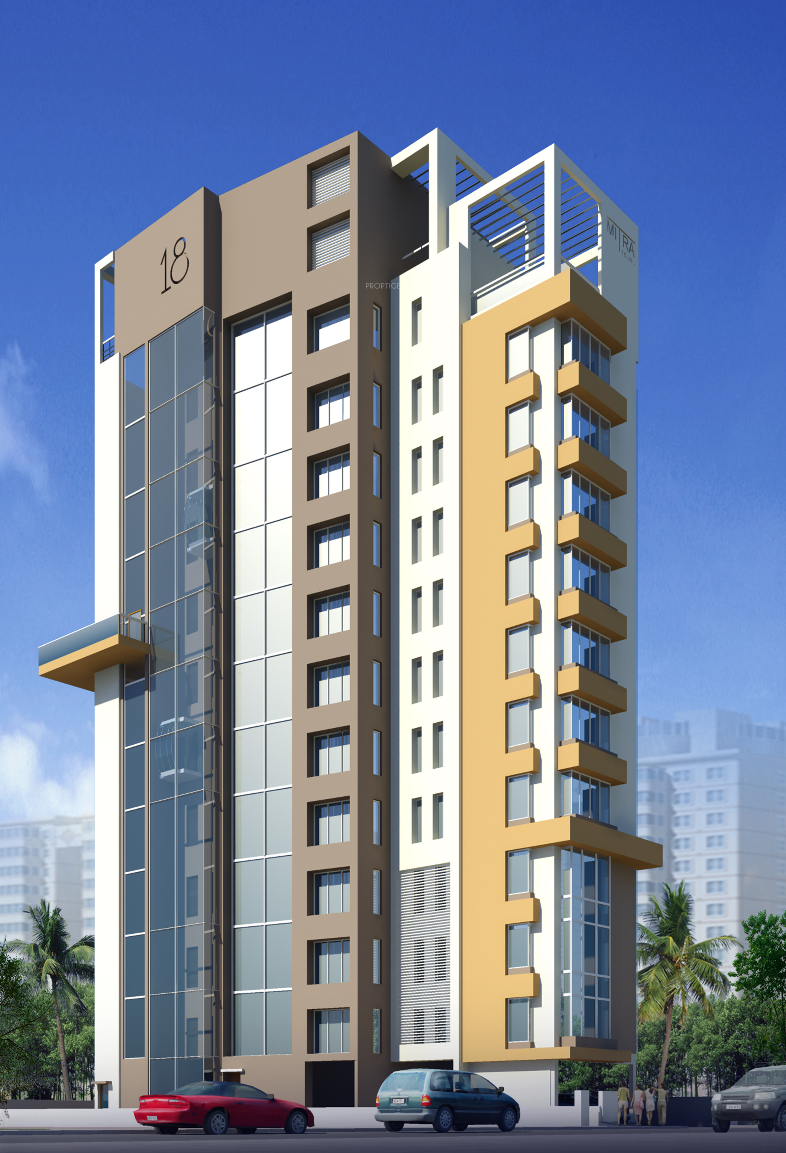 Homefront Tower Elevation : Main elevation image of swastic group mitra tower unit