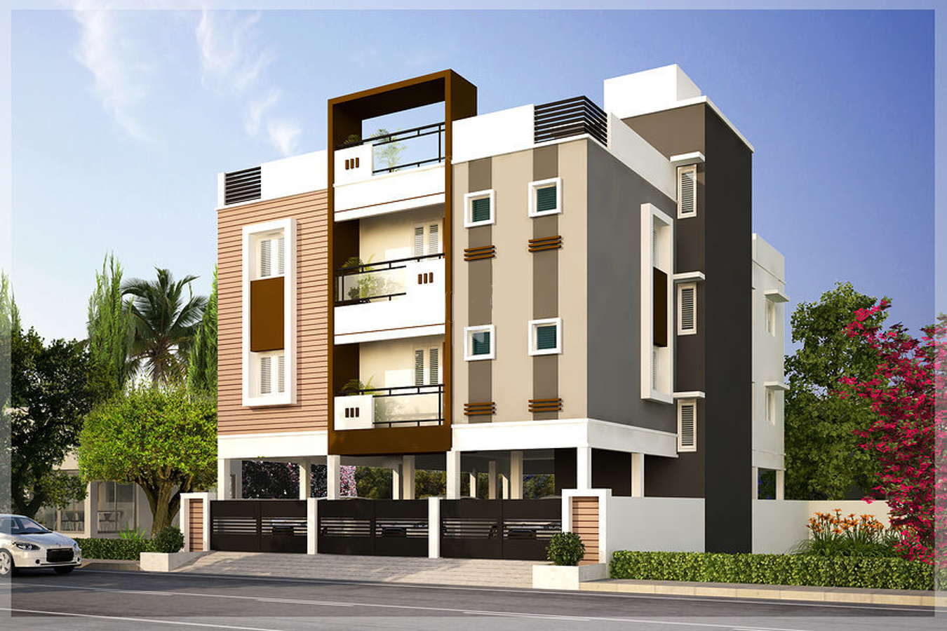 Apartment Front Elevation : Sq ft bhk t apartment for sale in m r builders and