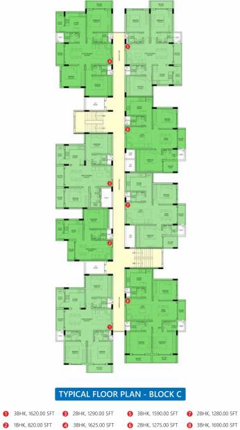 green-gates Tower C Typical Cluster Plan