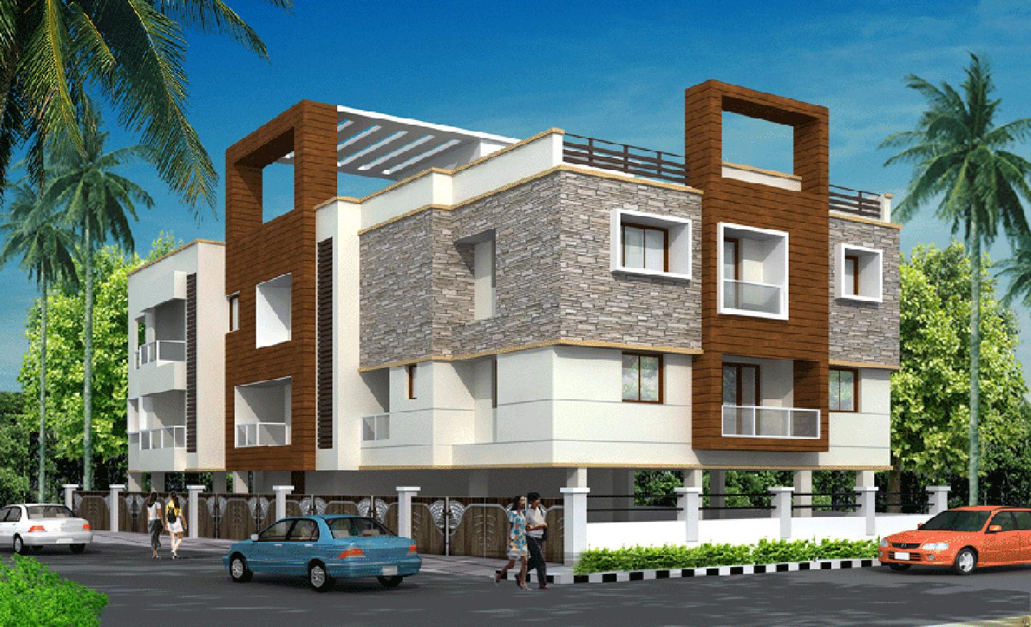 2 Floor Apartment Elevation : Main elevation image of subiksha trinity unit available
