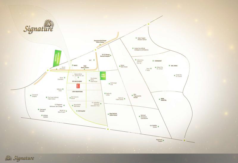 Indira Nagar Bangalore Map Image of Location Map of Subha Builders Venus Signature Indira