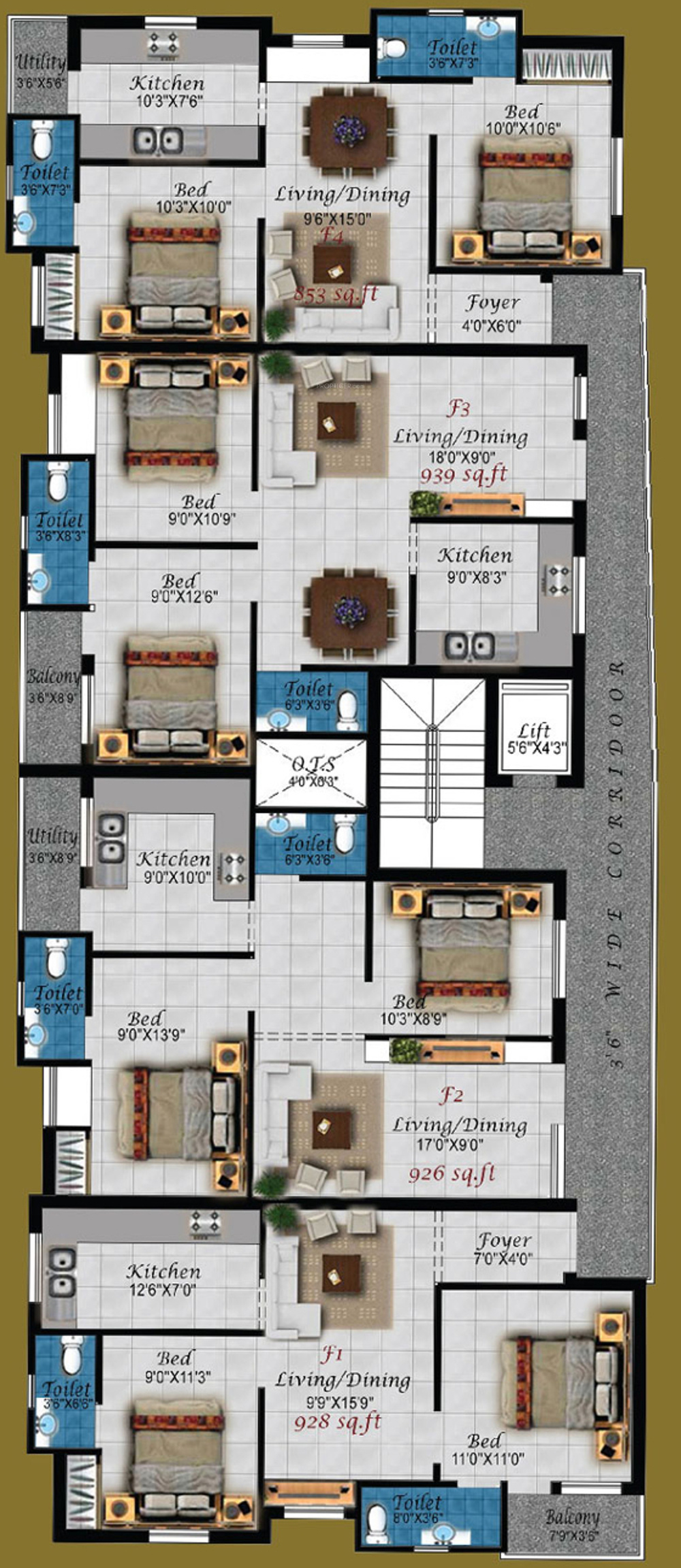 894 sq ft 2 bhk 2t apartment for sale in four square for Four square floor plan
