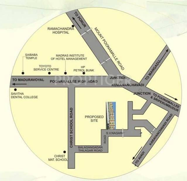 MS Builderss Mithra Flats Location Plan