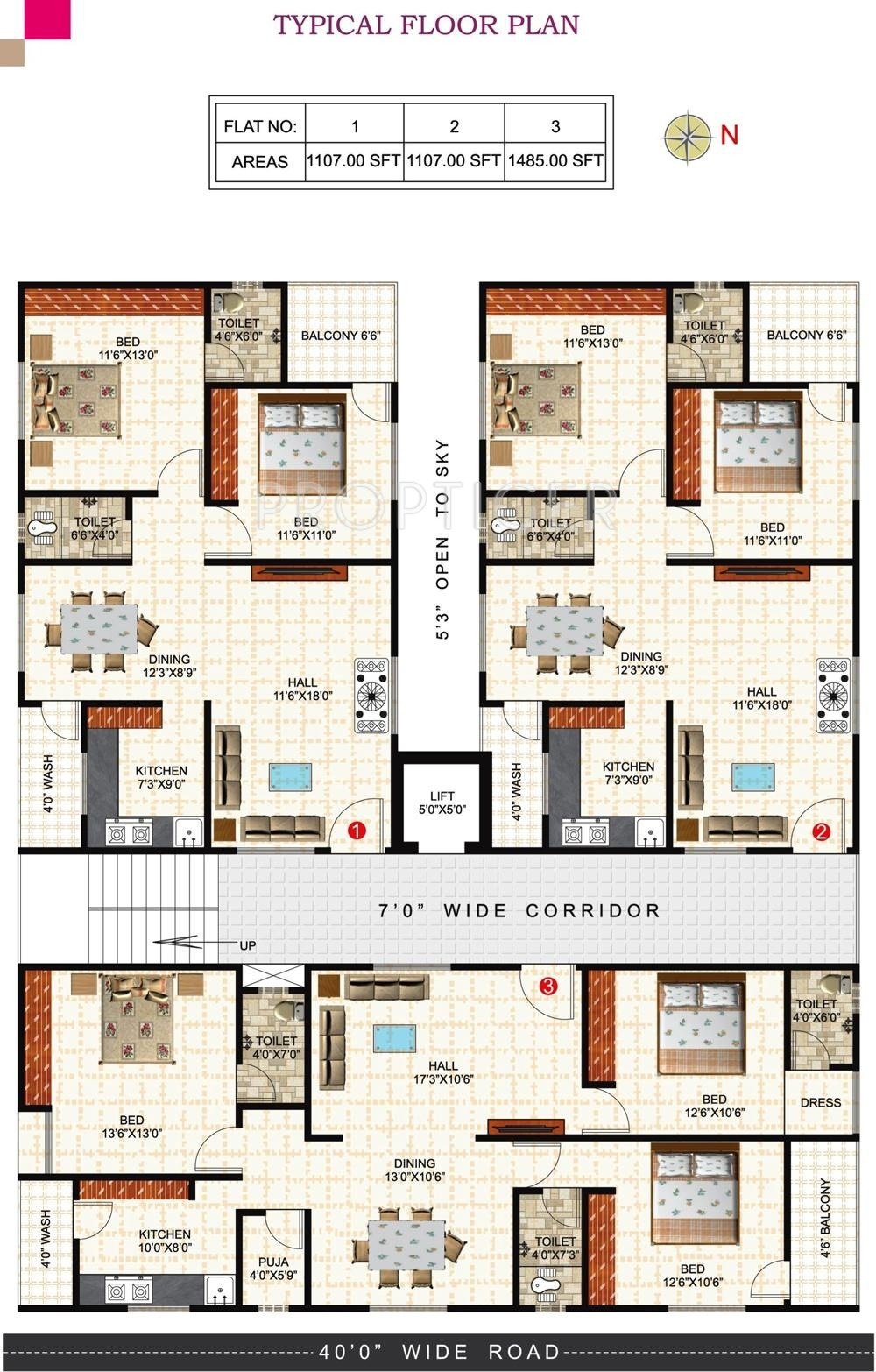1485 sq ft 3 bhk 3t apartment for sale in prem for X2 residency floor plan