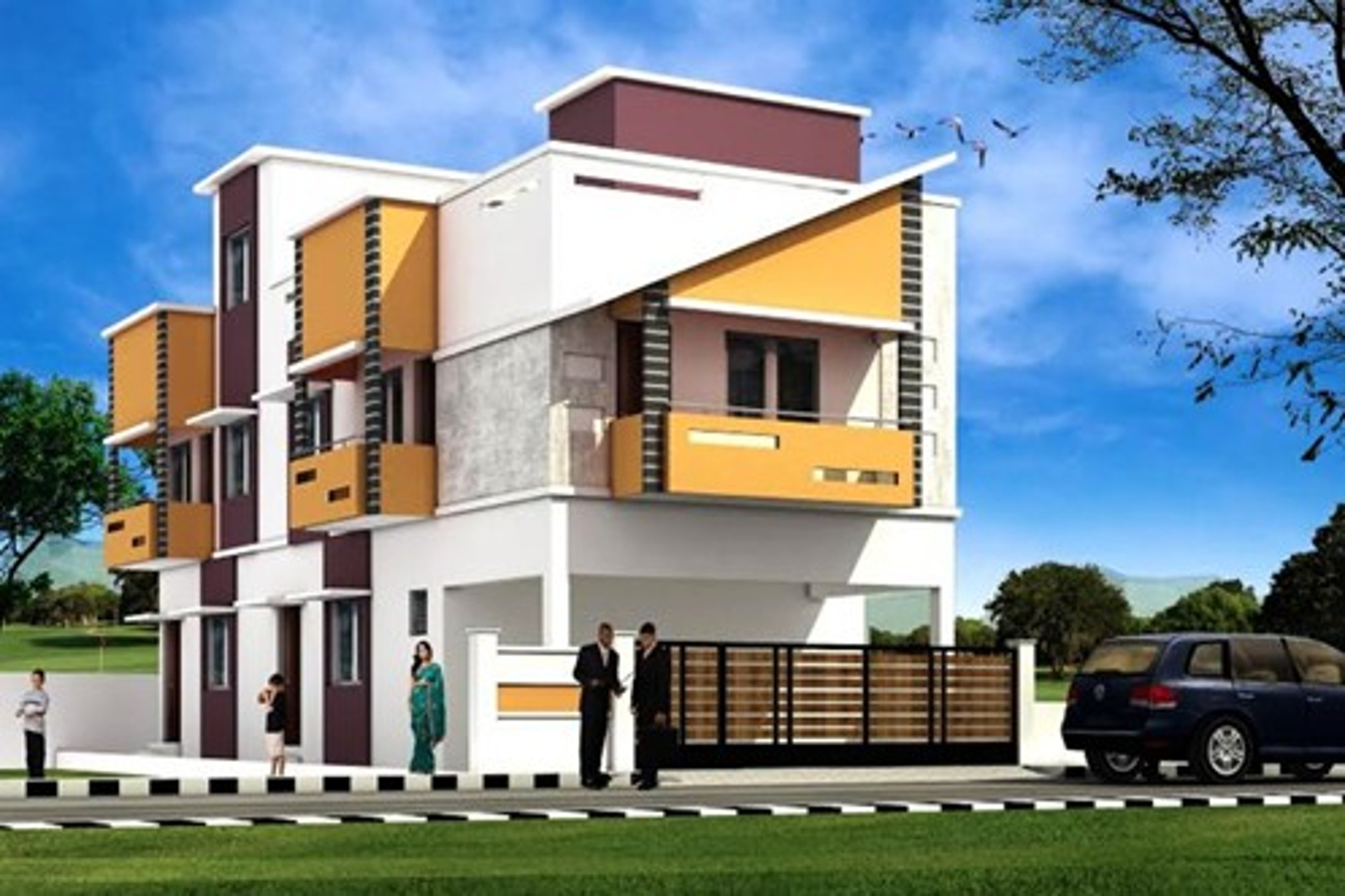 1523 sq ft 4 bhk 3t villa for sale in vijay builders sri for Flat front elevation designs