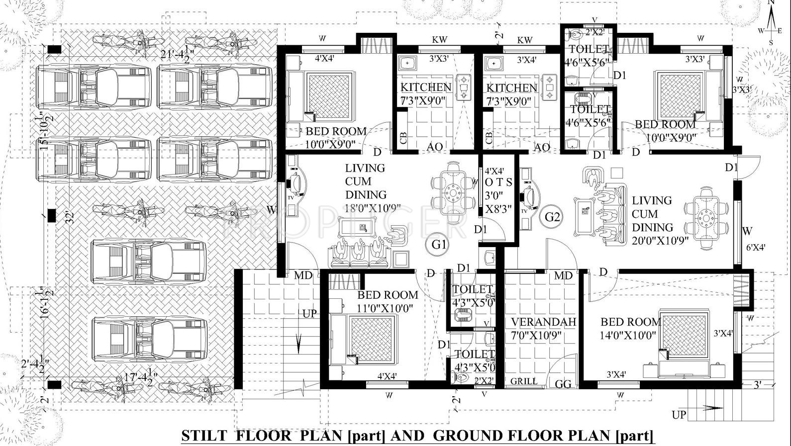 1400 sq ft 3 bhk 3t apartment for sale in guru homes for Cluster house plans