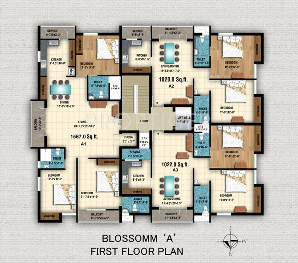 1586 sq ft 3 bhk 3t apartment for sale in anitech blossomm for Apartment plans chennai