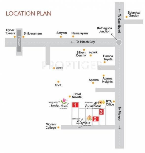 North East Constructions Sneha Arcade Location Plan