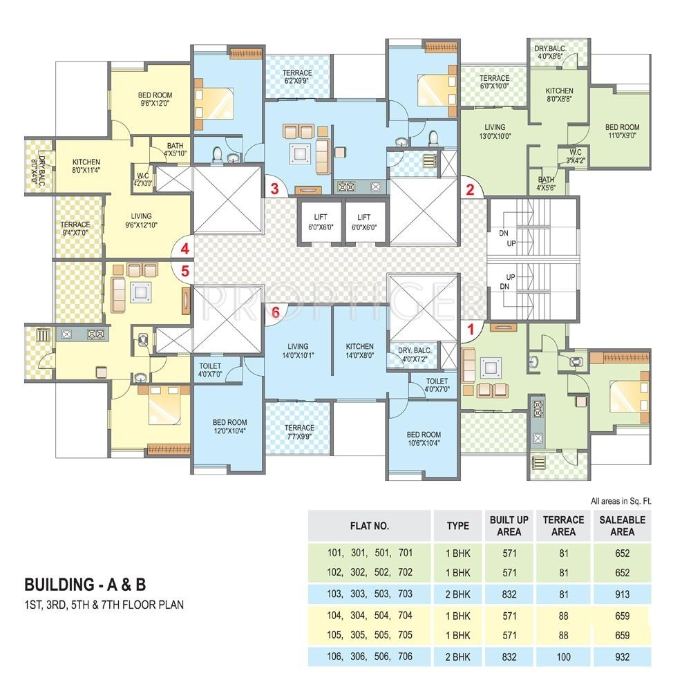 Cluster House Floor Plan: 652 Sq Ft 1 BHK 1T Apartment For Sale In Belvalkar Housing