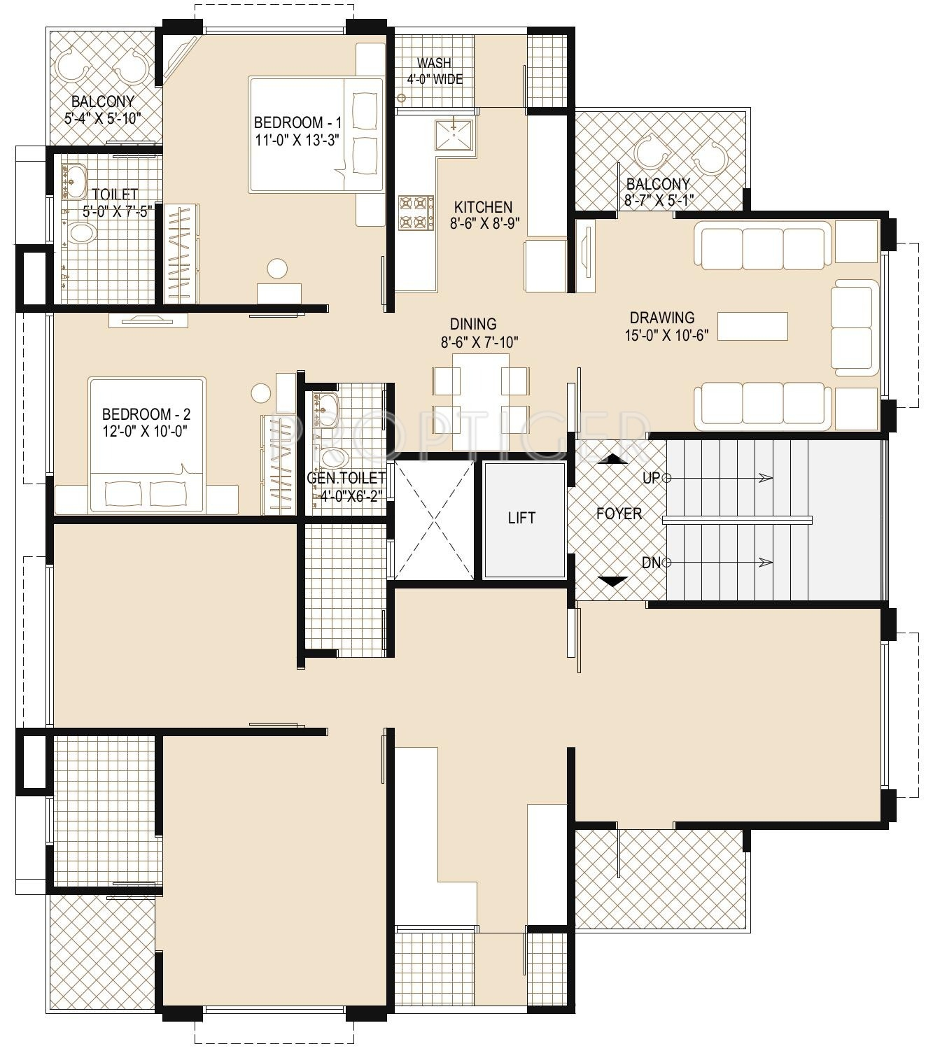2 Or 3 Bhk Flat Interior Designing Cost In Kolkata: 820 Sq Ft 2 BHK 2T Apartment For Sale In Galaxy Group