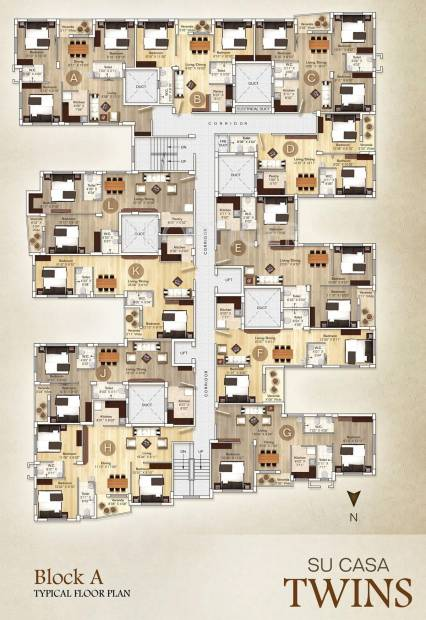 su-casa-twins Images for Cluster Plan of Rupayan Su Casa Twins