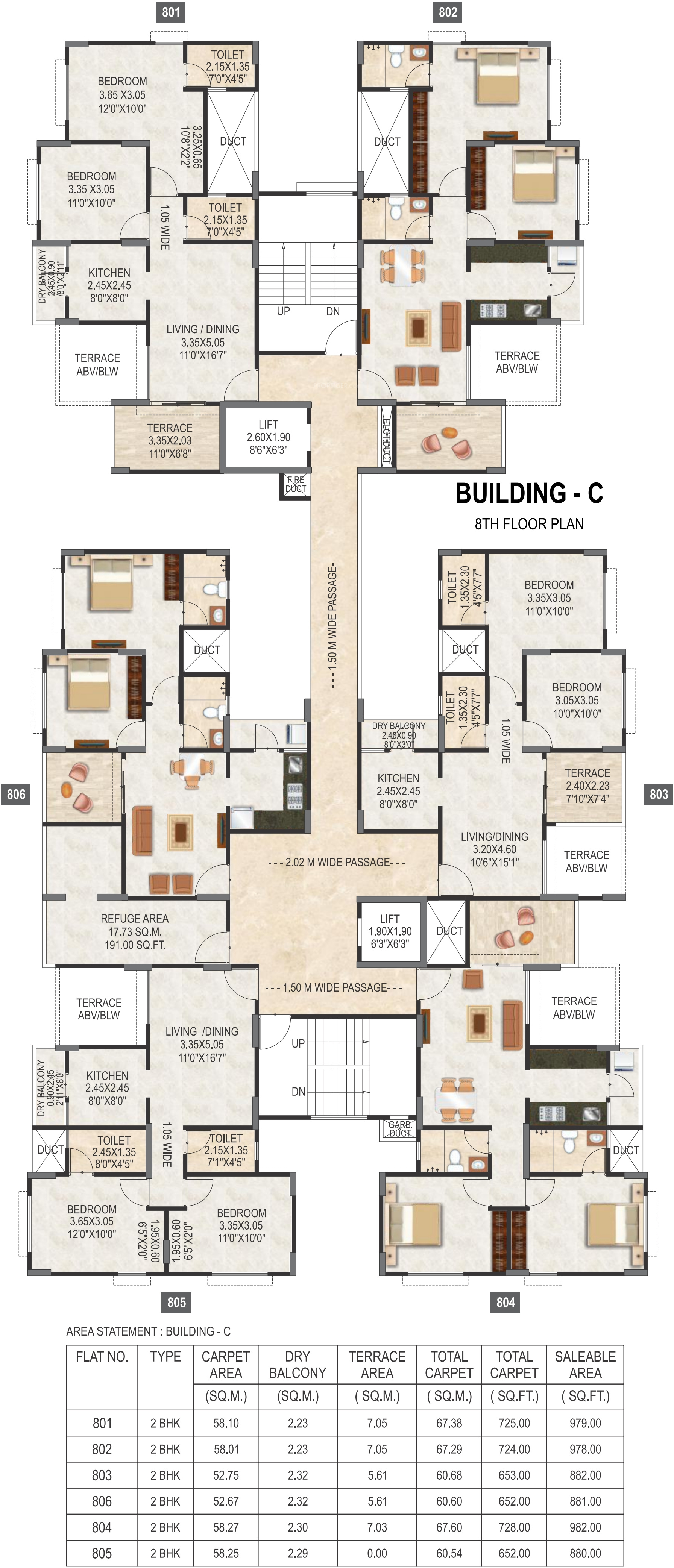 876 sq ft 2 bhk 2t apartment for sale in pristine for Cluster house plans