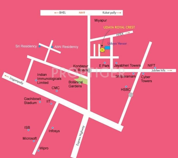 Royal Crest Apartments: Image Of Location Map Of Udaya Heights Royal Crest Hitech