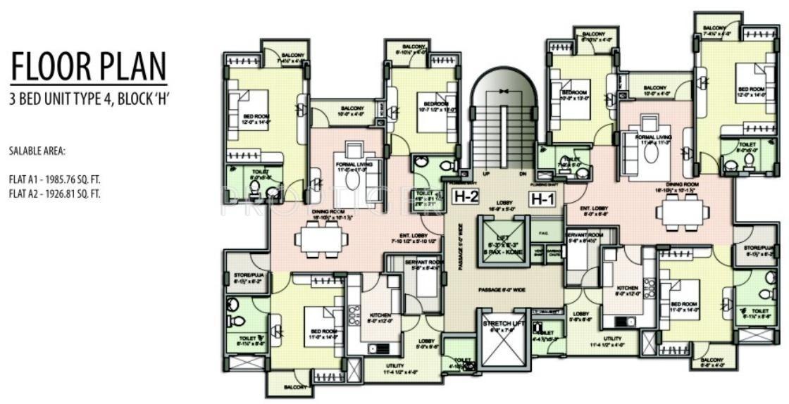 1451 sq ft 2 bhk 2t apartment for sale in unique dream for Apartment cluster plans