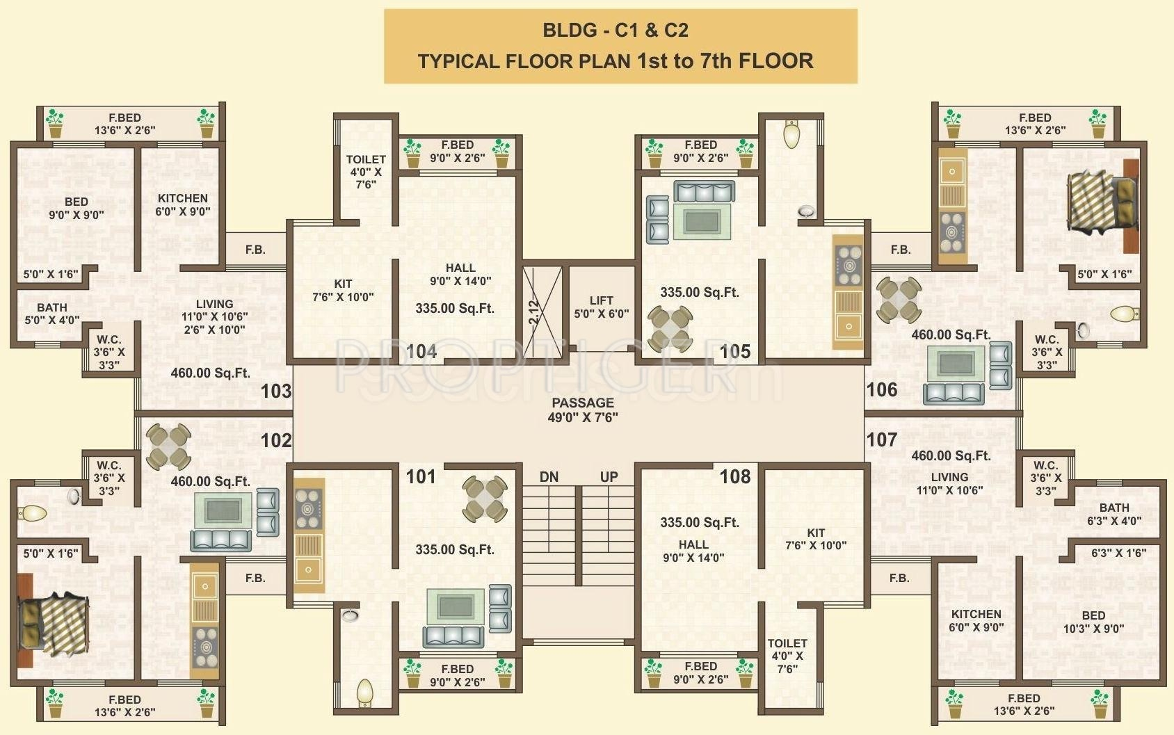 490 sq ft 1 bhk 1t apartment for sale in saj vision for Apartment cluster plans