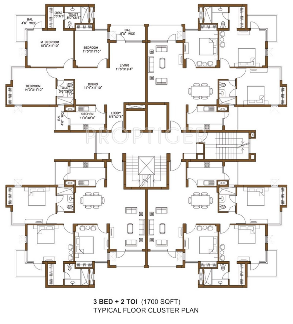 2435 sq ft 4 bhk 3t apartment for sale in omaxe palm for Apartment cluster plans