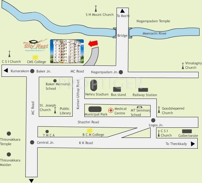K P Varkey and V S Builders Golden City Nest Location Plan