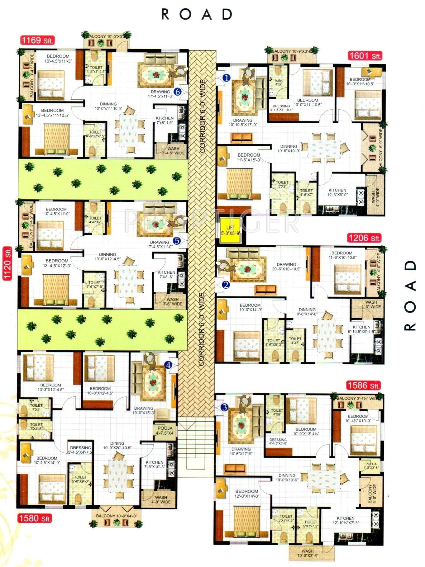 1206 sq ft 2 bhk 2t apartment for sale in sruthi for Apartment plans hyderabad