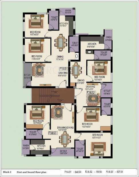 Sumangali Homes Indra Enclave Block 2,Typical  Cluster Plan