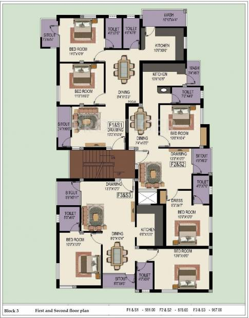 Sumangali Homes Indra Enclave Block 3,Typical  Cluster Plan