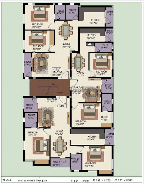 Sumangali Homes Indra Enclave Block 4,Typical  Cluster Plan