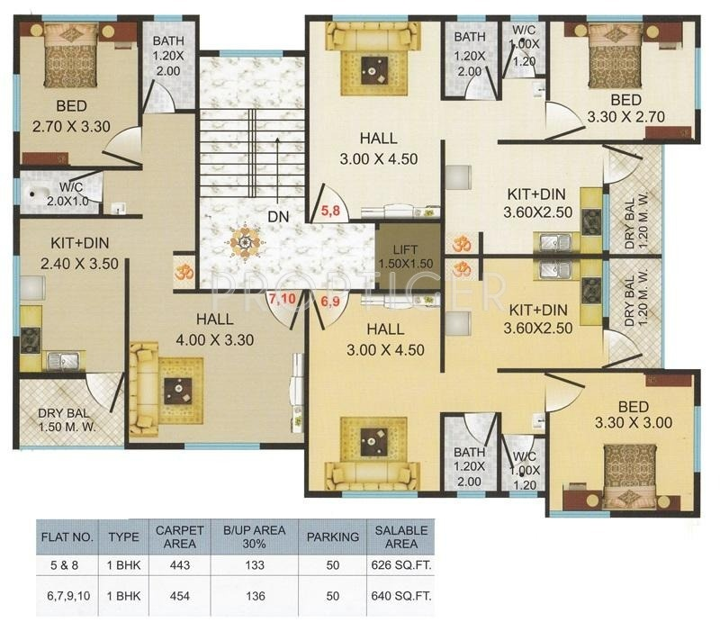 640 sq ft 1 bhk 1t apartment for sale in trimurti for 640 sq ft