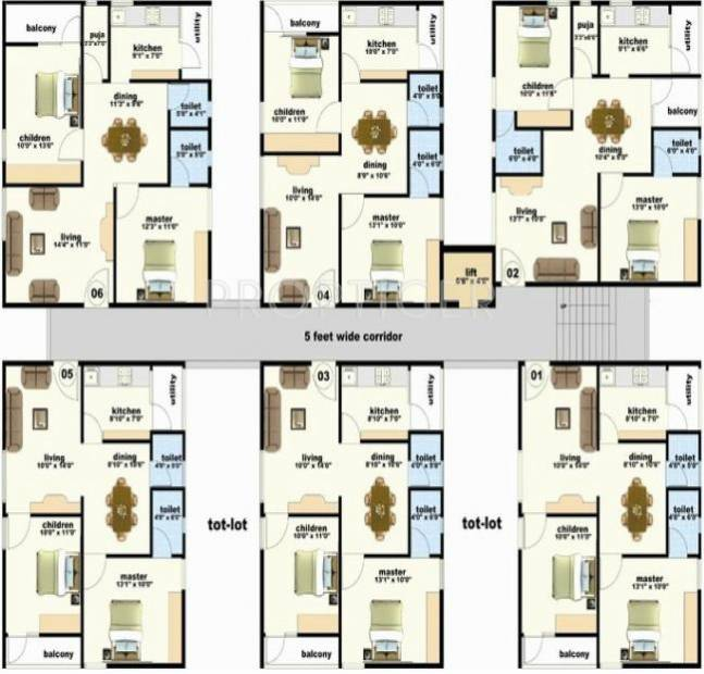 VR Constructions Ram Residency Phase 2 Cluster Plan-Typical floor