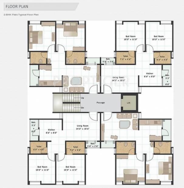 Kuber Kanha Group Life Style Apartment 2bhk Typical Floor Cluster Plan