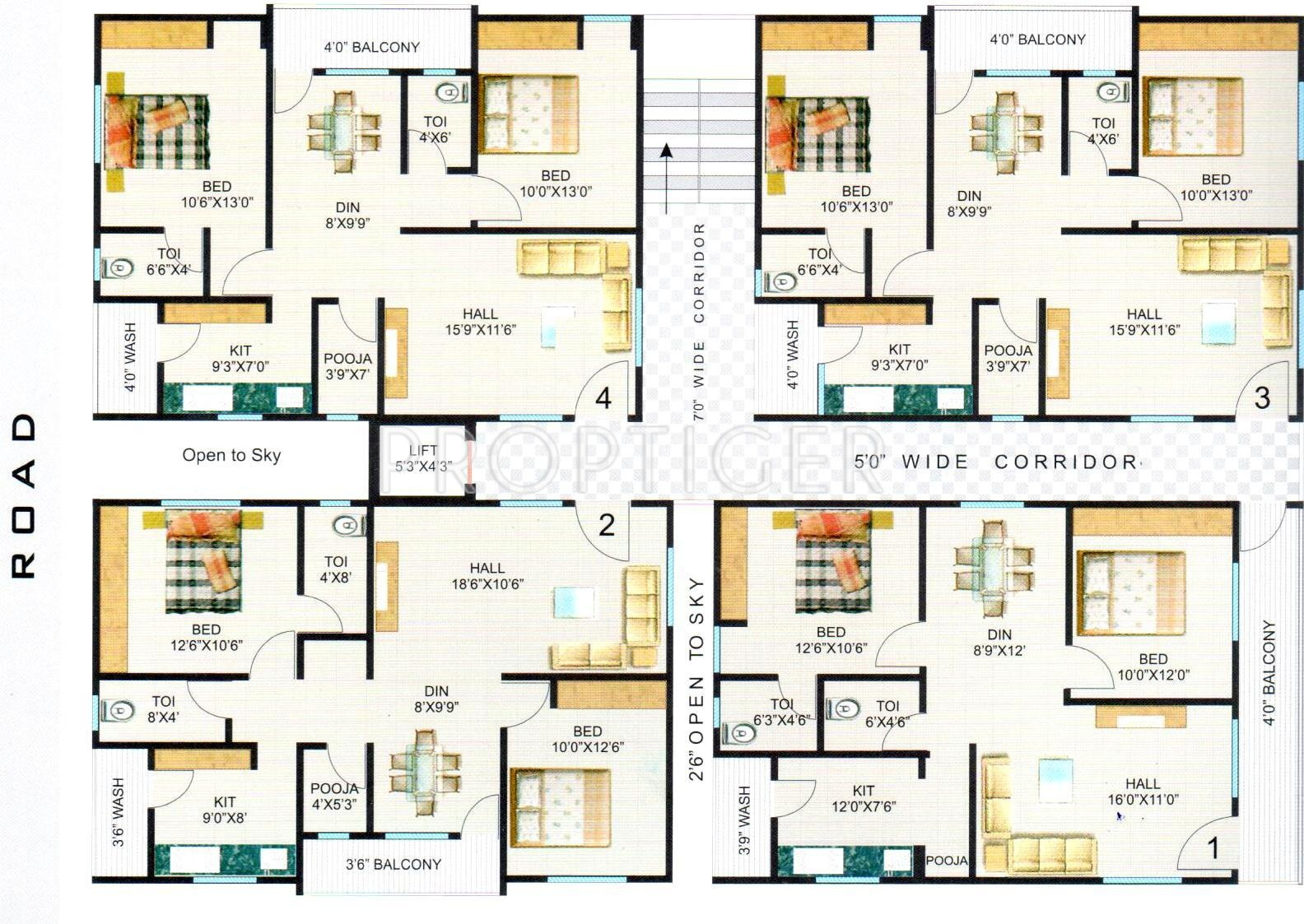 1225 Sq Ft 2 Bhk 2t Apartment For Sale In Hari Hara