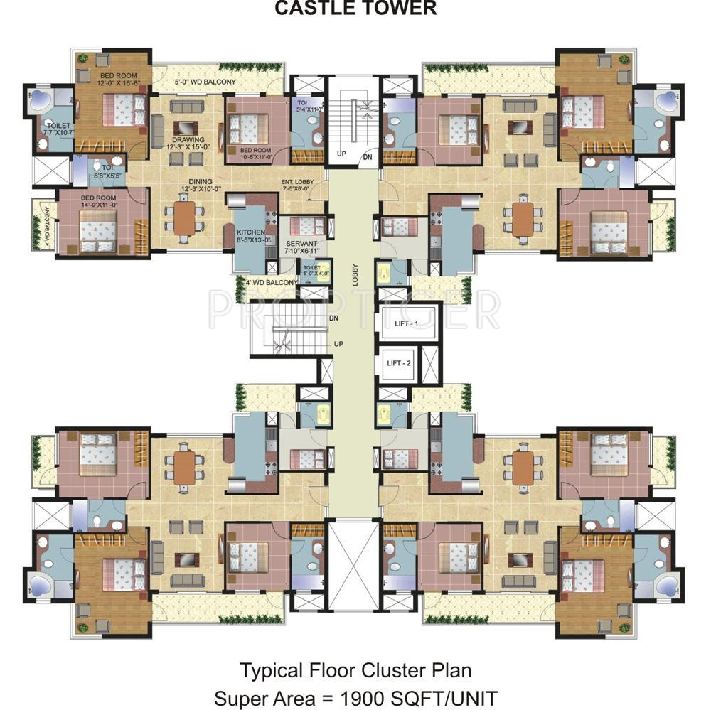 Omaxe spa village in sector 78 faridabad price for Apartment cluster plans