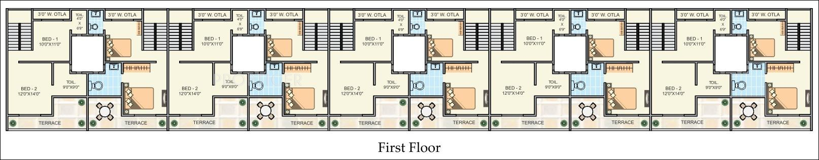 2050 sq ft 2 bhk 3t villa for sale in goldstar realtors for Floor plans for realtors
