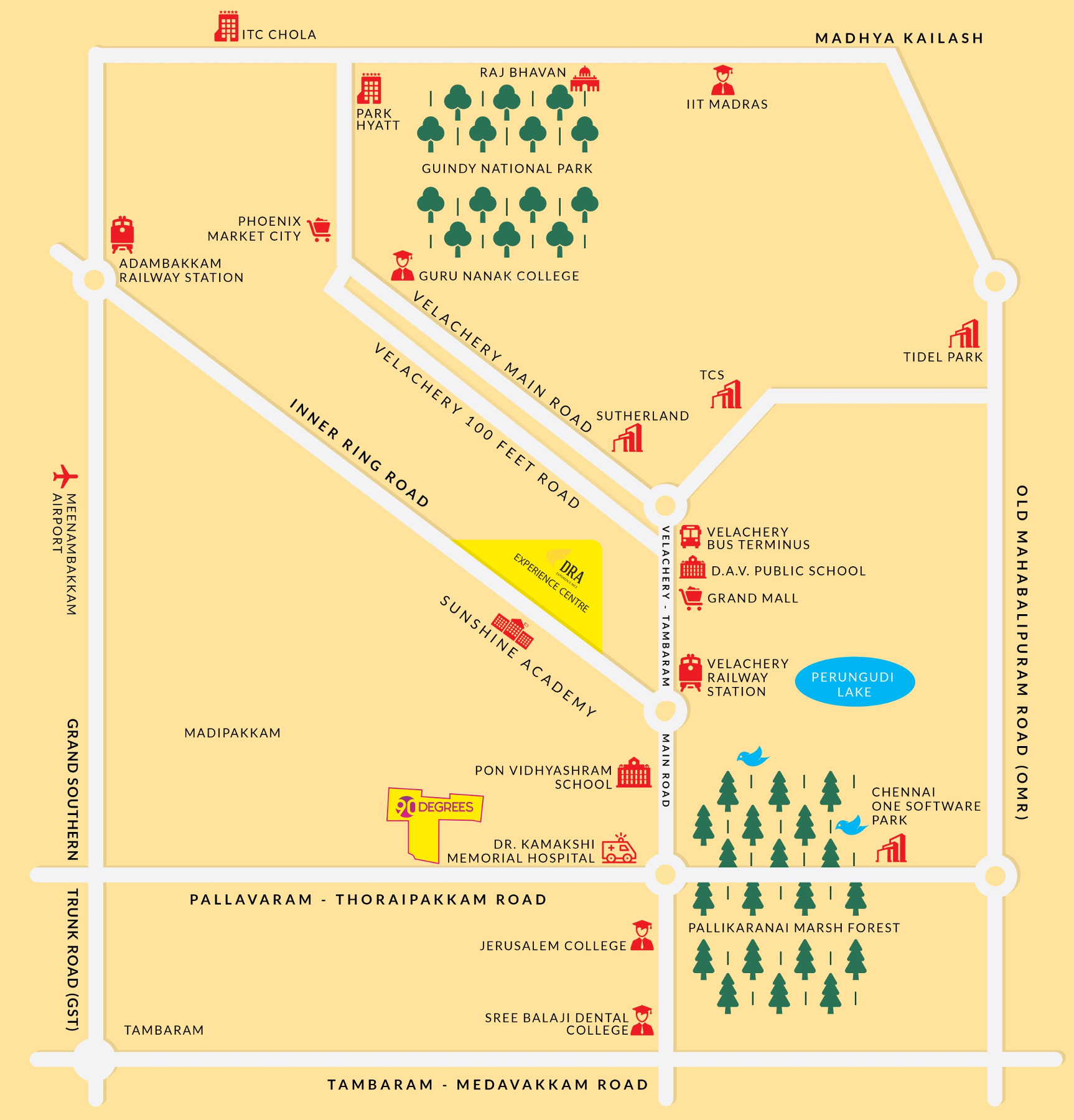 Ninety Degrees Apartments: 1282 Sq Ft 3 BHK 3T Apartment For Sale In DRA 90 Degrees Madipakkam Chennai