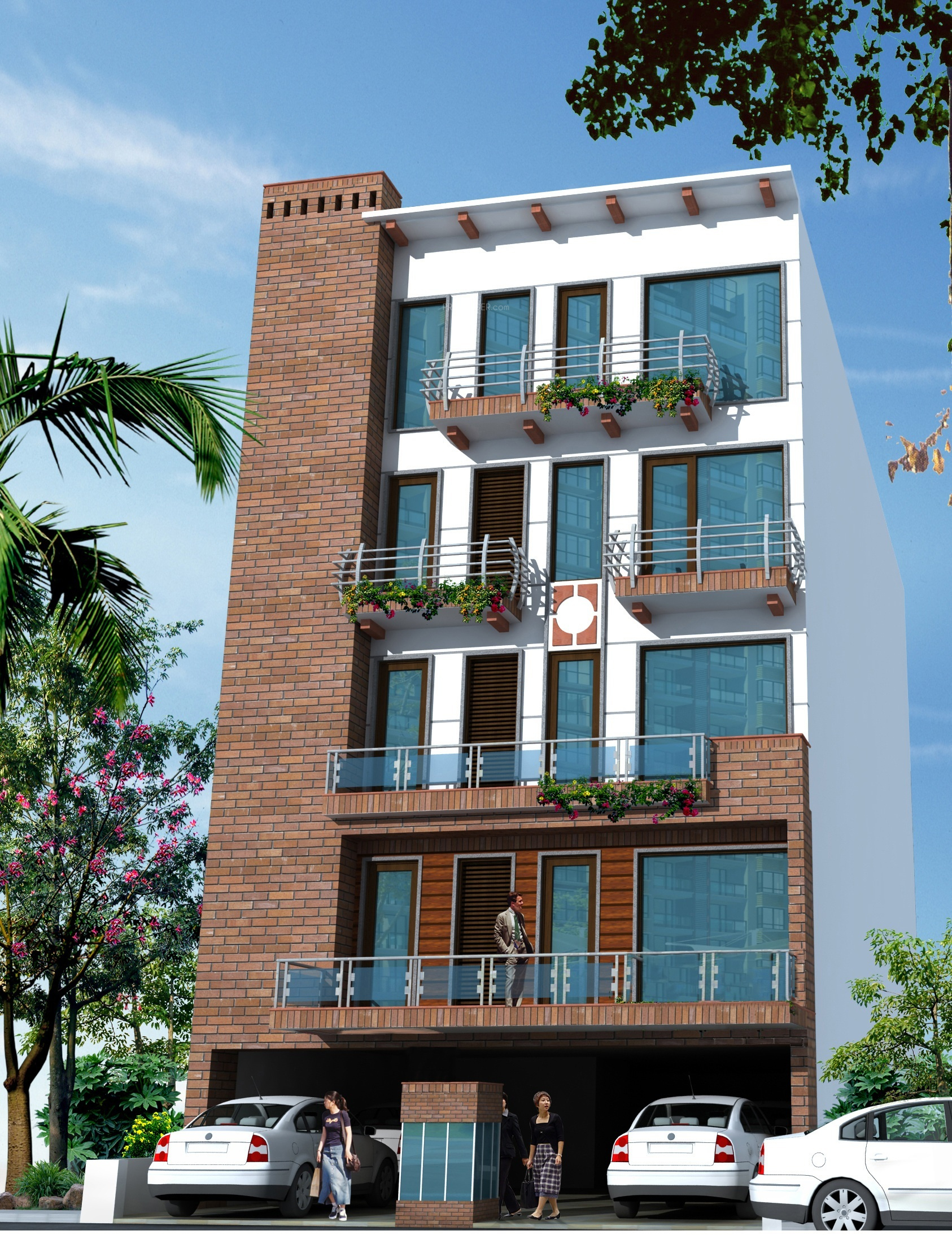 Front Elevation With Stilt Parking : Keystone wadhawan floors in greater kailash delhi price