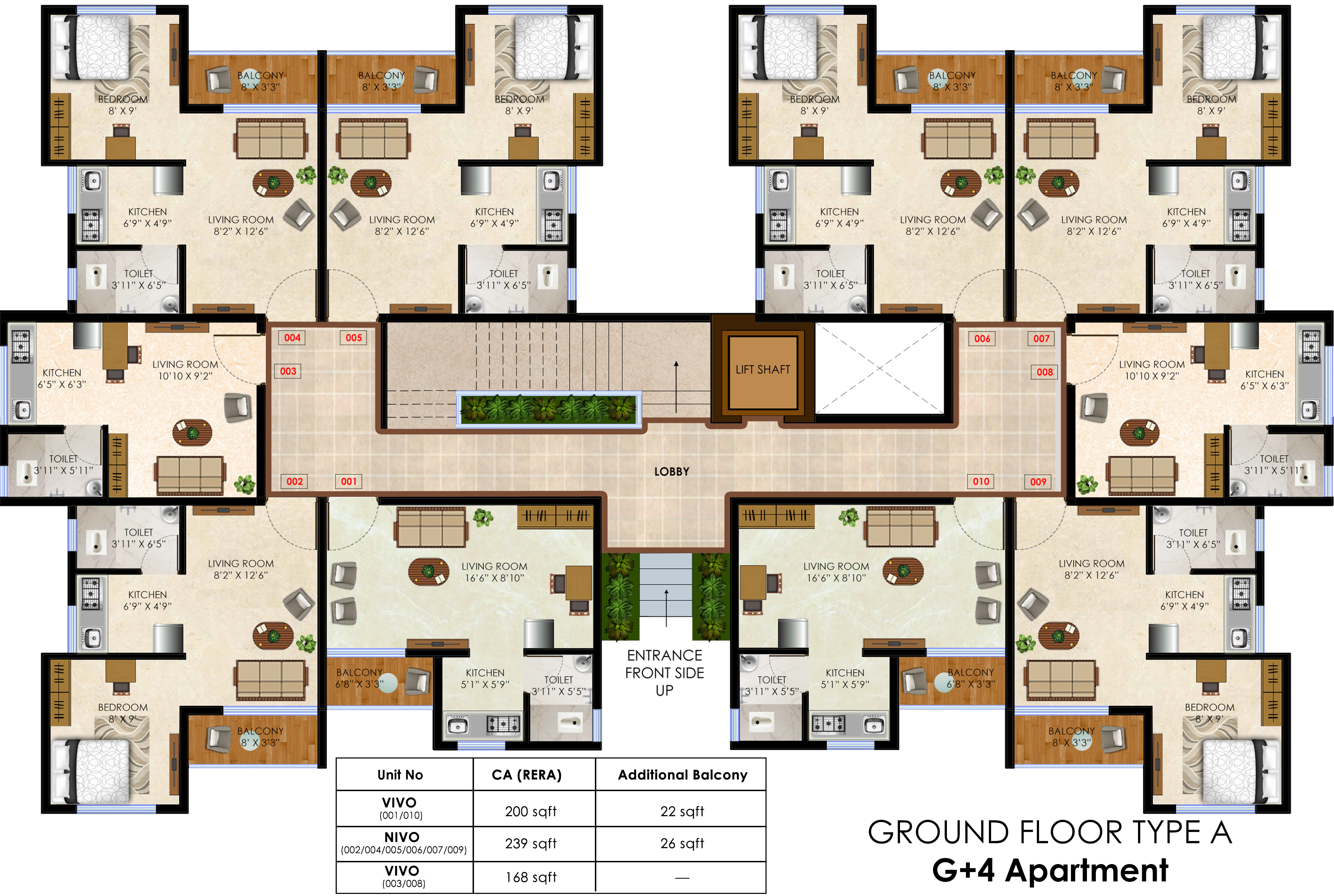 168 sq ft 1 bhk 1t apartment for sale in olympeo for Apartment cluster plans