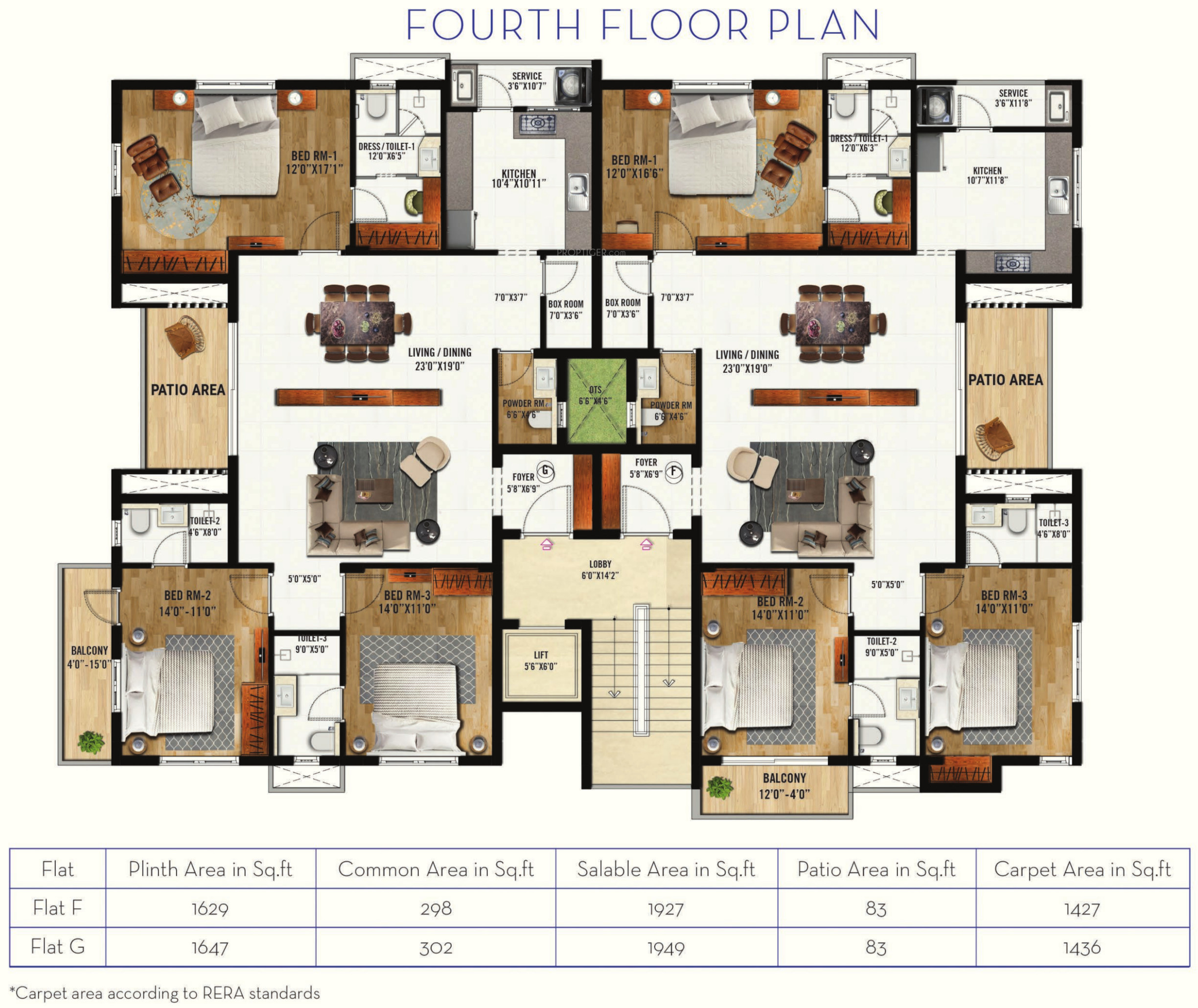 Cluster House Floor Plan: 1927 Sq Ft 3 BHK 4T Apartment For Sale In Navin Pearl