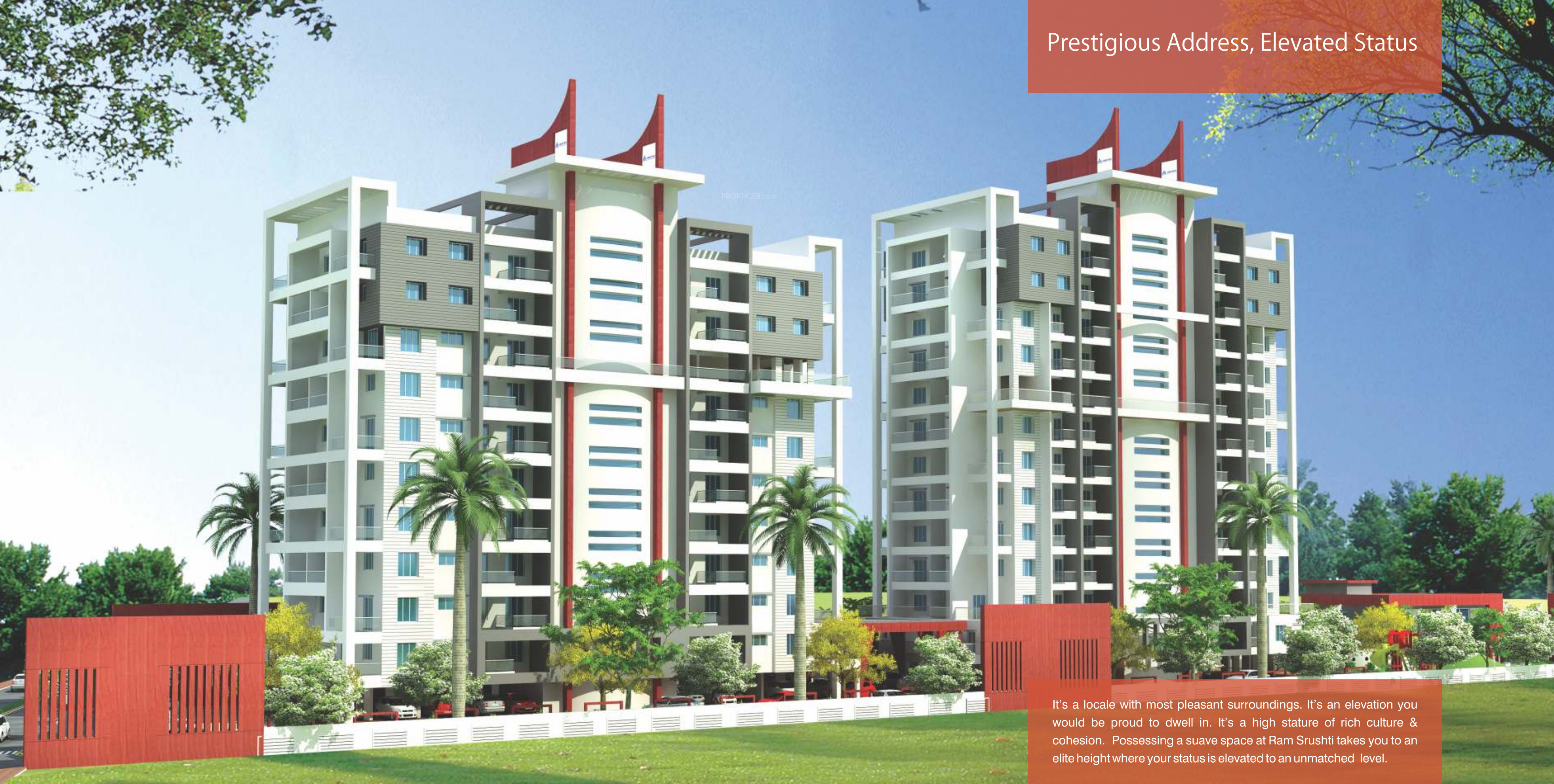 Sq Ft BHK T Apartment For Sale In Muktaa Ram Srushti B - Elevation level by address