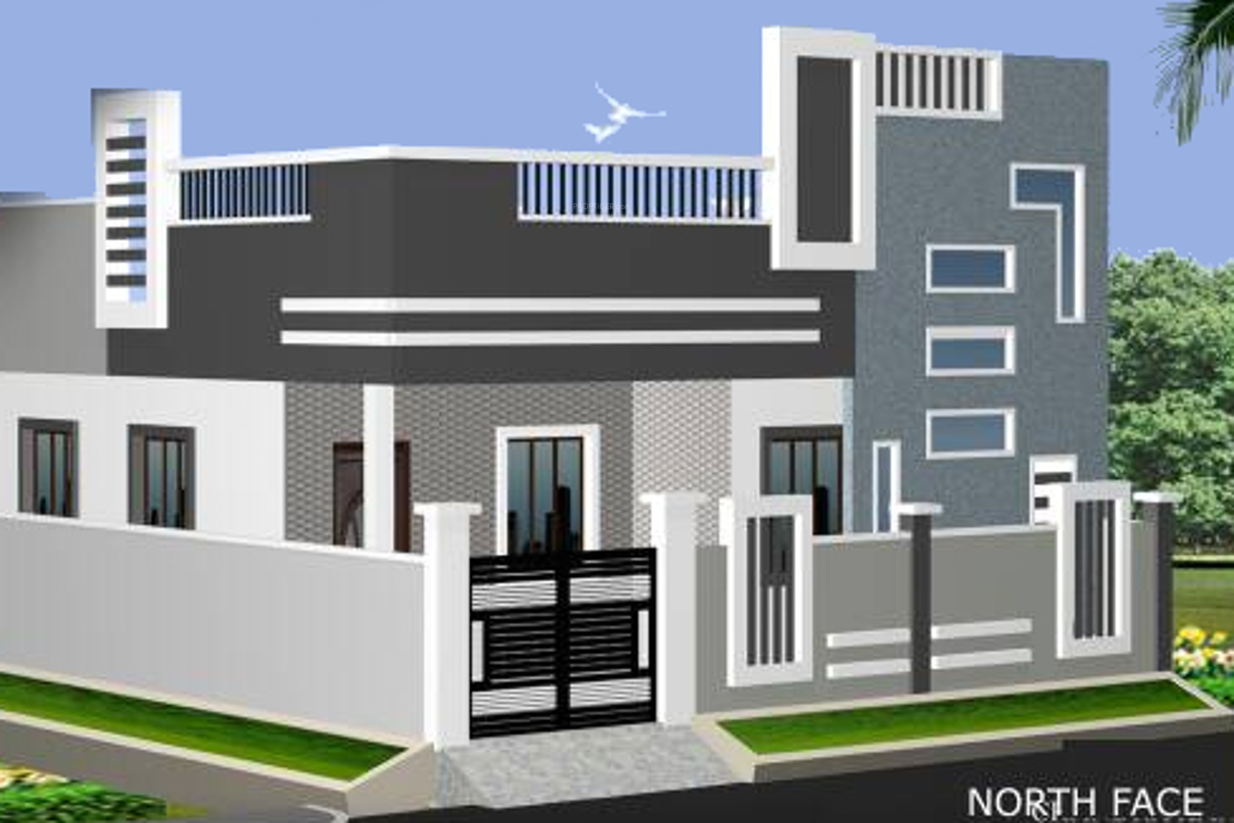 N Elevation Of Home : Main elevation image of chandrakanth constructions rose