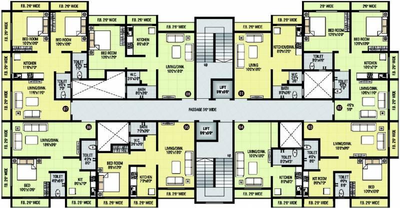 1 2 bhk cluster plan image shri parrsssva group classic for Apartment cluster plans