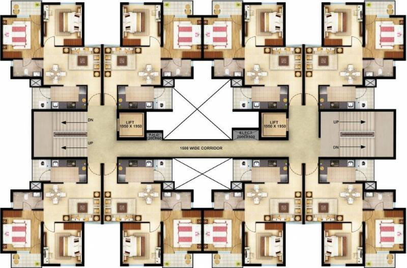 canary-phase-1 Typical Floor Plan from 1st to 14th Floor